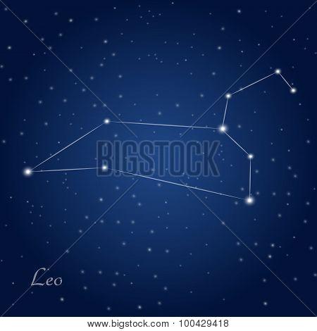 Постер, плакат: Leo constellation zodiac, холст на подрамнике
