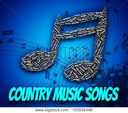 Постер, плакат: Country Music Songs Indicates Sound Track And Country and western, холст на подрамнике
