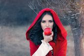 Постер, плакат: Red Hooded Woman Holding Apple Fairytale Portrait