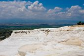 Pamukkale. Turkey. Cotton white mountains. National reserve and tourist attractions. Hot Springs poster