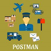 Постер, плакат: Flat postal icons around a Postman