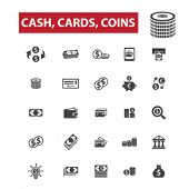 Постер, плакат: Cash cards coins concept icons: money cash register stack of cash dollar cash icon pile