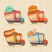Постер, плакат: Street food van in retro style Fast food delivery