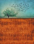 a photo composite of a tree in a field with birds flying out of it with a grunge overlay and toned w poster