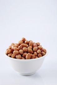 stock photo of ground nut  - ground nut in the white bowl - JPG