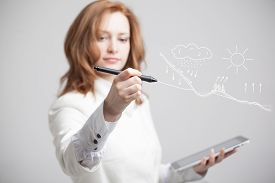 pic of transpiration  - Young woman drawing schematic representation of the water cycle in nature - JPG