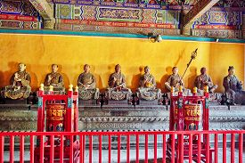 stock photo of lamas  - Interior view of Yonghegong Lama Temple - JPG