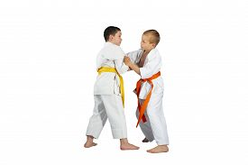stock photo of judo  - Boys are training Judo techniques against a white background - JPG