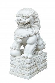 image of lion  - white marble Chinese Imperial Lion Guardian Lion Chinese style sculpture isolate on white background - JPG
