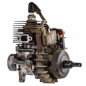 stock photo of combustion  - Old internal combustion engine isolated on white background - JPG