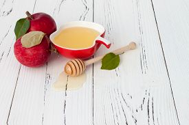 stock photo of traditional  - Apple and honey traditional food of jewish New Year  - JPG