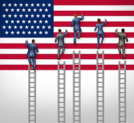 image of election  - American election concept as a group of candidates from the United States campaigning for president or government elected position as nominees for the democratic or republican party climbing the USA flag as a ladder to leadership victory - JPG