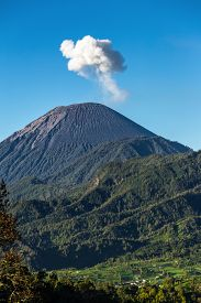 foto of mountain-ash  - Ash cloud rising at Semeru Volcano Mountain - JPG
