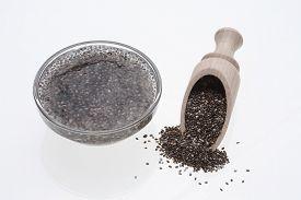 image of gels  - Chia gel or gel Chia seeds are swollen prior to use in water - JPG