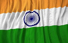 picture of indian flag  - Corrugated indian close up flag 3D illustration - JPG