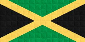 picture of jamaican flag  - flag of Jamaica or Jamaican banner on check pattern background - JPG