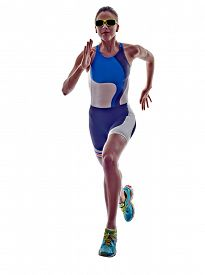 picture of triathlon  - woman triathlon ironman athlete runner running  on white background - JPG