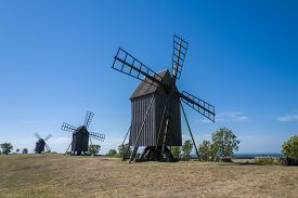 picture of windmills  - Traditional windmills on Swedish island Oland in the Baltic Sea - JPG
