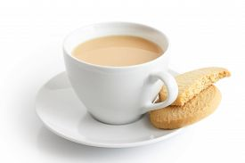 picture of shortbread  - White ceramic cup and saucer with tea and shortbread biscuits - JPG