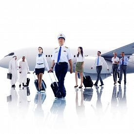 stock photo of cabin crew  - Business People Cabin Crew Transportation Airplane Concept - JPG