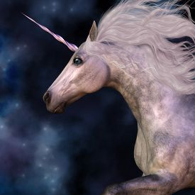 stock photo of dapple-grey  - Cosmic stars surround the beauty of a dapple grey unicorn as he prances across the universe - JPG