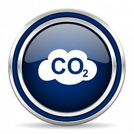 stock photo of carbon-dioxide  - carbon dioxide blue glossy web icon modern computer design with double metallic silver border on white background with shadow for web and mobile app round internet button for business usage   - JPG
