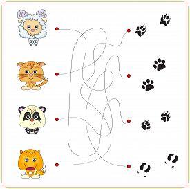 picture of panda  - Lamb kitten panda and fox with their tracks - JPG