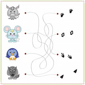 stock photo of wild donkey  - Donkey mouse penguin and wolf with their traces - JPG
