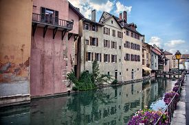 foto of annecy  - Old medieval houses and water canals in Annecy France - JPG