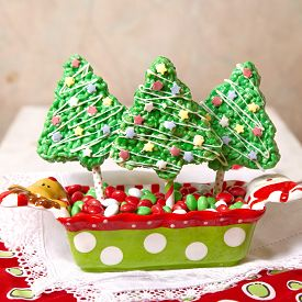 picture of crispy rice  - Rice crispy bars decorated for a Christmas - JPG