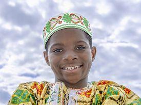 pic of ten years old  - Muslim Afro boy smiling - JPG