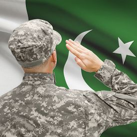 picture of pakistani flag  - National military forces with flag on background conceptual series  - JPG