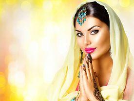 stock photo of mehndi  - Beauty Indian woman  portrait - JPG