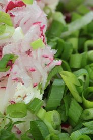 picture of grated radish  - Grated radish chopped chives and fresh cottage cheese - JPG