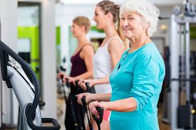 image of vibration plate  - Senior and young people on vibrating plates in gym doing fitness exercise  - JPG