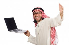 image of arab man  - Arab man with laptop isolated on white - JPG