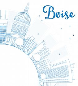 image of boise  - Outline Boise Skyline with Blue Building and copy space - JPG