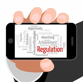 stock photo of mandate  - Regulation Word Showing Mandate Regulate And Directive - JPG