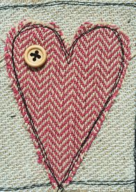 stock photo of stitches  - sewn and stitched Love Heart texture background - JPG