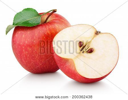 poster of Red Apple Fruit With Half And Green Leaf Isolated On White