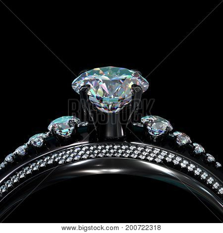 Black Gold Engagement Ring With Diamond Gem Luxury Jewellery