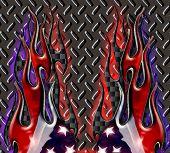 Carbon Fiber Diamond Plate American Flag Flames