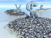 stock photo of land-mass  - Giant dollar yen and pound symbols sit on their land masses surrounded by a mass of smaller currency symbols - JPG