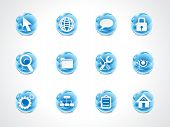 Abstract Blue Shiny Web Icon Set