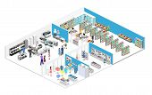 Isometric Interior Shopping Mall, Grocery, Computer, Household, Equipment Store. poster