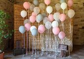 Wedding Or Birthday Photo Zone With White, Pink And Gray Balloons In Front Of Wooden Screen, Free Sp poster