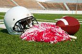 American Football, Helmet, And Pom Poms