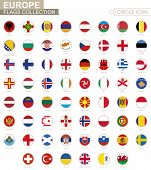 Alphabetically Sorted Circle Flags Of Europe. Set Of Round Flags. poster
