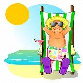 Hombre envejecido en la playa