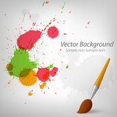 Colorful Paint Background With Paintbrush